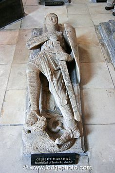 The effigy of Gilbert Marshall Temple Church London. One of William Marshal's son, next to his father's effigy
