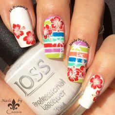 Nails by Cassis: Colourful Tropical Stripe Mani #nails #nailart #nailstamping…