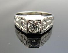 18k Mens Art Deco Diamond Ring Simple Classic by MSJewelers, $4555.00 Men's Jewelry, Jewelry Accessories, Jewelry Design, Art Deco Diamond Rings, Men Rings, My Perfect Wedding, Beautiful Rings, Wedding Bells, Class Ring