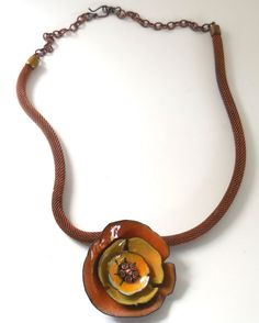 California Poppy Enameled Necklace by susanbabson on Etsy