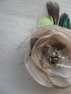Vintage Rustic Wedding bridal fascinator Hair clip or by LeFlowers, $25.00