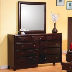Coaster Furniture - Phoenix Contemporary 6 Drawer Dresser and Mirror - 200413-4 #coasterfurnituredrawers