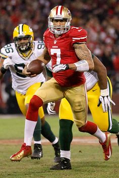 Colin Kaepernick. Running over the Packers in the NFC Divisional game on Jan 12th 2013.