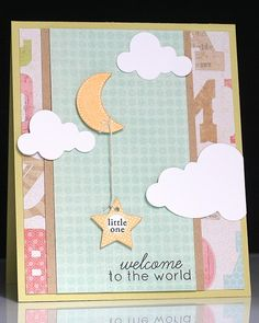 Pretty handmade baby card, or a great scrapbook cover for baby book