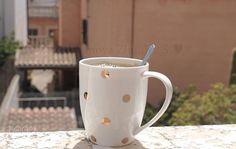 Polka dot coffee mug.