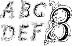 Vector Art : Calligraphic floral letters A, B, C, D, E and F