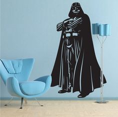 Darth Vader Full Body Decal Darth Vader Wall by TrendyWallDesigns Wall Decals For Bedroom, Vinyl Wall Decals, Wall Sticker, Star Wars Bedroom, Cool Walls, Modern Wall Art, Wall Design, Design Trends, Full Body