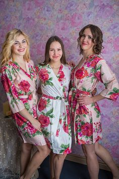 This listing represents Blush colored Fuchsia Large Floral Blossom patterned robes for your bridesmaids. The same floral pattern is also available in other colors. Special SALE: Only $19 (was $30) per robe for some of our most popular patterns. It does not end there, this comes with Free