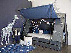 Cabin bed tent Mathy by bols Kids Canopy, Kids Tents, Toddler Bed Tent, Kids Bed Tent, Cool Toddler Beds, Toddler Boys, Unique Kids Beds, Bunk Bed With Desk, Diy Zimmer