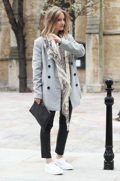 Boutique by Jaeger coat, Sara Berman leather pants, Zara platform shoes, Sandro Men scarf, Givenchy clutch, Zara jumper, and H & M necklace