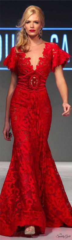 Fouad Sarkis Spring 2016 RTW red maxi dress women fashion outfit clothing style apparel @roressclothes closet ideas