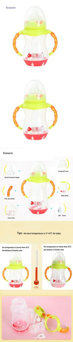 Baby Feeding Milk Water Fruit Juice Bottle Cup PP Nursing Care Bottle Temperature Sensing Simulation Nipple with Handle YI11