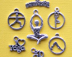 Yoga Charm Collection Antique Silver Tone 7 Different Charms - COL275