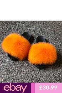 3b0893d6981 Women Wide Fur Slider Fluffy Slides Fox Slippers Fashion Flip Flops New  36018W