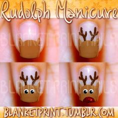 a basic reindeer nail art tutorial, so here it is! :) Start by painting a half circle in light brown on your nail. Use a dotting tool or thin paintbrush to add ears in the same color to the top of this half circle. Your reindeer's antlers will go in-between the ears, so make sure the ears are painted far apart