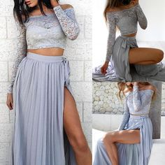 Sexy Off Shoulder Cropped High Slit Two-piece Dresses