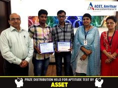 An #Aptitude Test was organized under the aegis of the Departmental Society – #ASSET in which the students of #Chemistry group as well as #Physics group had participated.   The following students secured top three positions. 1. Karan Sethi of class B2 stood first and was awarded with cash #prize of Rs 1000 2. Abhilash Aggarwal of class A1 secured second position and was awarded with cash prize Rs 800 3. Kulbir Singh of class B2 secured third position and was awarded with cash prize Rs 600…