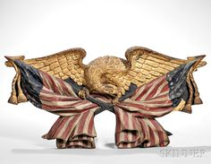 Carved Polychrome and Gilt Eagle Plaque, America, 19th century. | Lot 602 | Auction 2961B | Estimate: $8,000-12,000