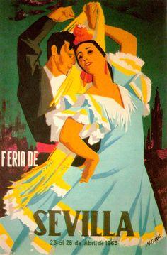 Cartel de 1963 - Autor Feria: Manuel Flores Pérez Dimensiones: 47 x 69cm Litografía: Gráficas del Sur (Sevilla)