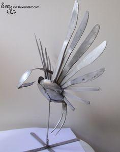 Tig welded Cutlery Swallow by *Sovriin on deviantART Metal Yard Art, Metal Tree Wall Art, Scrap Metal Art, Metal Artwork, Fork Art, Spoon Art, Welding Art Projects, Welding Ideas, Fun Projects
