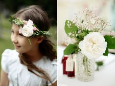 Flower girl wears rose flower crown | Photography by http://www.dashacaffrey.com/