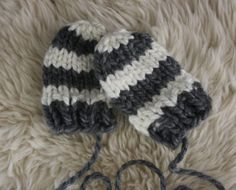 Chunky Striped Knit Baby Mittens With String by TrulySimple