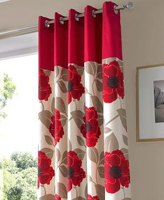 Harper Ready Made Eyelet Curtains Curtains To Match Grey Walls, Red Curtains Living Room, Patio Door Curtains, Home Curtains, Hanging Curtains, Window Curtains, Red And White Curtains, Ready Made Eyelet Curtains, Printed Curtains