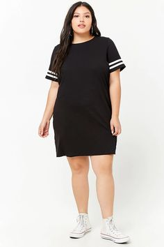 Product Name:Plus Size Varsity-Stripe T-Shirt Dress, Category:plus_size-main, Price:15.9