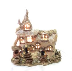Thatched cottage electric lamp, night light, table lamp, nursery lamp - pinned by pin4etsy.com
