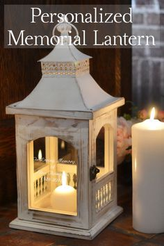 An heirloom keepsake to remember and honor a lost loved-one on your wedding day and every day thereafter, the glass on this beautiful rustic memorial candle lantern is custom printed with the name of your loved-one and 'In Loving Memory' verse or 4 lines of custom print to express a personal message honoring your mom, dad, brother, sister, or anyone who is with you in spirit. This memory lantern can be ordered at myweddingreceptio...