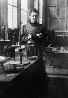 Marie Curie (1867-1934) in her laboratory in the 5th arrondissement of Paris, studying radioactivity for which she earned a Nobel Peace Prize in Physics (1903) and later, a second Nobel Peace Prize in Chemistry (1911).       ᘡղbᘠ