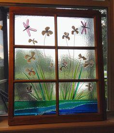 Custom Dragonfly Iris Flower Fused Glass Antique Window Frame with Dragonflies Antique Window Frames, Antique Windows, Old Windows, Fused Glass, Stained Glass, Old Window Crafts, Window Hanging, Iris Flowers, Purple Glass