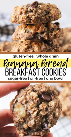 Looking for fun breakfast ideas for your kids These healthy, easy Banana Bread B. Looking for fun breakfast ideas for your kids These healthy, easy Banana Bread Breakfast Cookies ar Breakfast Cookie Recipe, Healthy Breakfast Recipes, Healthy Breakfast Cookies, Banana Breakfast Cookie, Gluten Free Breakfasts, Healthy Breakfasts, Easy Gluten Free Meals, Homemade Breakfast Bars, Gluten Free Recipes For Kids