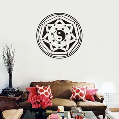 Mandalas Wall Stickers Home Decor Indian Floral Yin Yang Wall Decals Creative Design Removable Vinyl Sticker $11.45