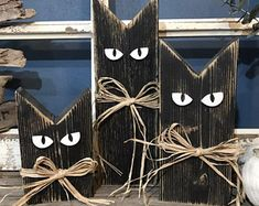 Made to order Wood Cats. These make great shelf sitter between your fall / ha ., Made to order Wood Cats. These make great shelf sitter between your fall / hal . Fall Wood Crafts, Halloween Wood Crafts, Outdoor Halloween, Diy Halloween Decorations, Holiday Crafts, Fall Wood Projects, Painted Wood Crafts, Thanksgiving Wood Crafts, Primitive Fall Crafts