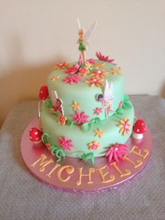 Tinkerbell Cake Celebration Cakes, Tinkerbell, Cake Ideas, Birthday Cake, Boutique, Desserts, Food, Birthday Cakes, Meal