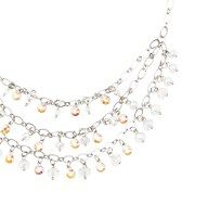 """Long Tiered Iridescent Stone Necklace - Capture serious shine in this long tiered confection, boasting a bevy of clear beads and miniature iridescent gems. Silvertone finish. Lobster claw clasp with adjustable closure. 15"""" drop."""