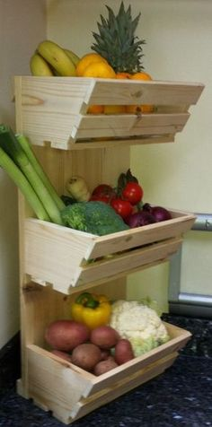 Fruit and vegetable storage ideas is part of Kitchen Organization Vegetables - 16 Fruit and vegetable storage ideas To storage fruit and vegetable you can use drawers, fabric bags, woven baskets mounted in a wooden frame or traditional wooden baskets Fruit And Vegetable Storage, Fruit Storage, Vegetable Rack, Produce Storage, Vegetable Basket, Produce Stand, Kitchen Organization, Kitchen Storage, Organization Ideas