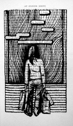 """Trouvé Poésie Leçon - """"Sur une page d'un vieux livre que vous dessinez ne importe quel objet et choisissez un mot afin de créer un petit poème"""" ...Essayez cette activité en utilisant une photocopie d'une page sur Nabokov ou Saint-Exupéry."""