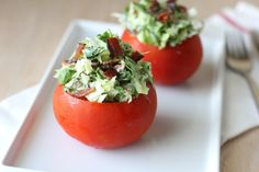 BLT Spinach Salad with Fresh Garlic Dill Dressing: Love the presentation in the tomato.