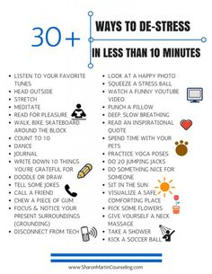 30 Quick, Easy, and Free Ways to reduce anxiety, stress, depression from emotional wellness expert Sharon Martin, LCSW