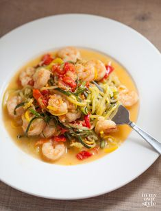 Zucchini Garlic Shrimp Zoodles made with the KitchenAid® Spiralizer Attachment