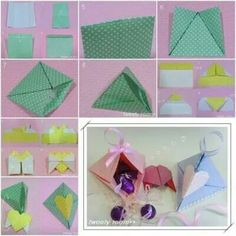How to make Triangle Heart Lock Gift Box step by step DIY tutorial picture instructions thumb Diy Origami, Origami Butterfly Easy, Diy Gift Box, Diy Box, Gift Boxes, Crafts To Do, Paper Crafts, Origami Box Tutorial, Diy Tutorial