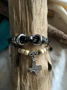 "Leather Multi Strand Bracelet with I Love Texas Charm Wood Beads 7"" - 9"" Black…"