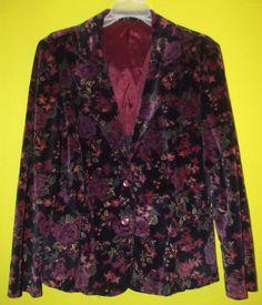 Vintage Floral Blue Velvet Blazer Jacket w/ Pockets Women's  Sz Small   #Unbranded #Blazer