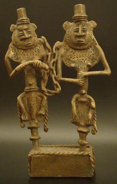 Two Chained Brass Figures #573 | Figures | Metal — Deco Art Africa - Decorative African Art - Ethnic Tribal Art - Art Deco