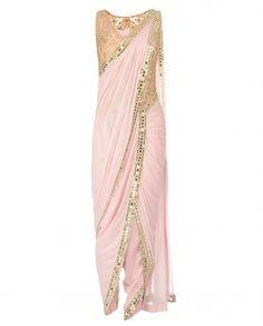 Mirror Work Embroidered Powder Pink Dhoti Sari- $1055