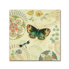 """Trademark Art """"Folk Floral II"""" by Daphne Brissonnet Painting Print on Wrapped Canvas Size: 24"""" H x 24"""" W x 2"""" D"""
