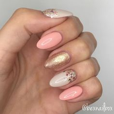 New Nails ❤️ These are my natural nails with Gel overlay, I don't have nail extensions. I used Bluesky Gel Polishes in. Gold Gel Nails, Blue Nails, Polish Nails, Oval Nails, Pink Sparkly Nails, Square Gel Nails, Acrylic Nails, Gel Manicure, Uñas Color Coral