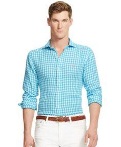 POLO RALPH LAUREN Polo Ralph Lauren Men\u0027S Men\u0027S Long Sleeve Gingham Linen  Estate Shirt. #